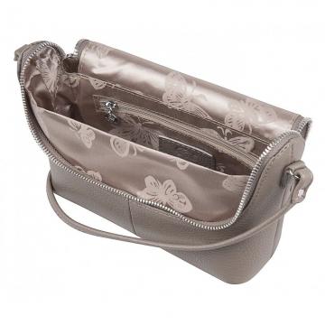 женская сумка через плечо кожаная (капучино)