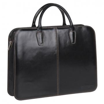 Деловая сумка-папка из натуральной кожи (черная)