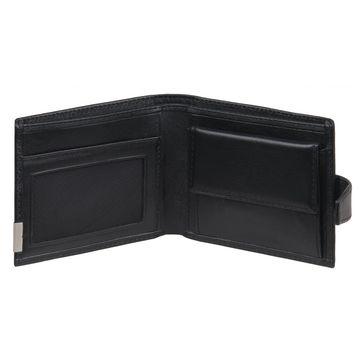 Мужской кошелёк из натуральной кожи чёрный с кнопкой