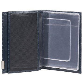 Обложка для паспорта и прав из натуральной кожи синяя
