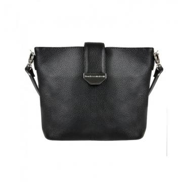 сумка женская кожаная через плечо (чёрная)