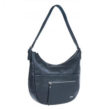 сумка женская из натуральной кожи с одной ручкой (черная)
