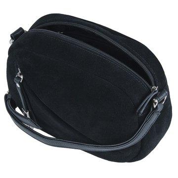 Женская замшевая чёрная сумка через плечо