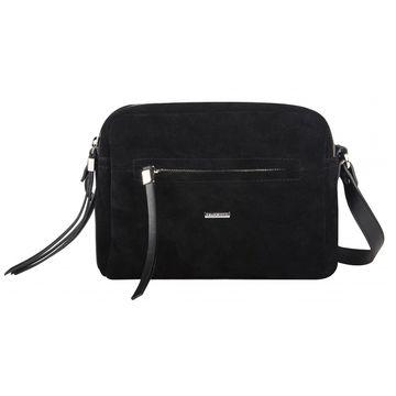 сумочка женская замшевая через плечо (чёрная)
