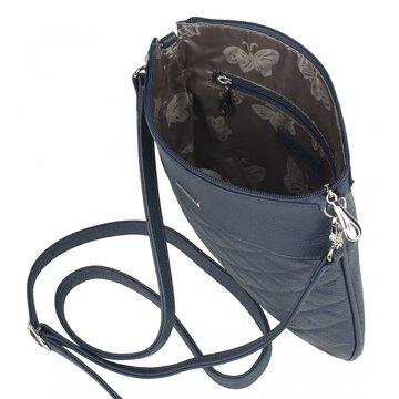 Женская кожаная сумка синяя через плечо плоская