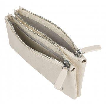 женский кожаный кошелек 0-757к-002 слоновая кость