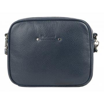сумка женская кожаная через плечо (темно-синяя)