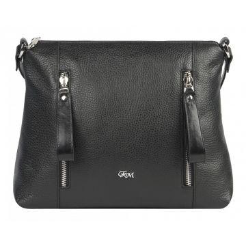 сумка женская кожаная через плечо (чёрнаая)