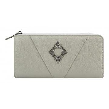 женский кожаный кошелек 0-739 пл серый