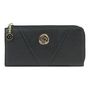 женский кошелек из натуральной кожи 0-739 черный