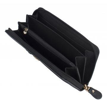 женский кошелек из натуральной кожи 0-579/1 чёрный