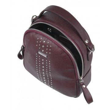 маленький женский рюкзак из натуральной кожи (вишневый)