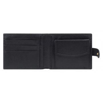 мужской кожаный кошелек (черный) 0-02FM мичиган