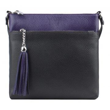 сумка женская из натуральной кожи (черно-фиолетовая)