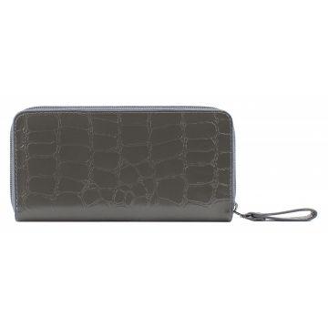 женский кошелек из натуральной кожи 0-753-1скат серый