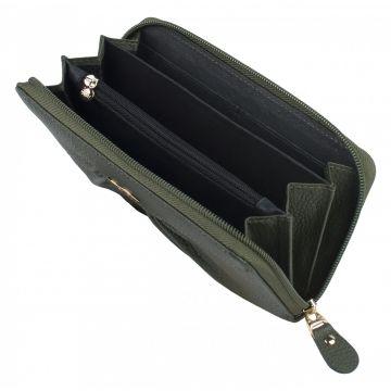 женский кожаный кошелек (зеленый)
