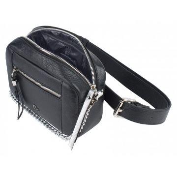 сумка поясная женская из натуральной кожи (чёрная)