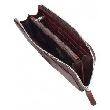 кошелёк женский на молнии из натуральной кожи 0-739/1нв кайман корич.