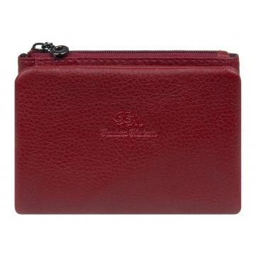 женский кожаный кошелек в сложение (темно-красный)