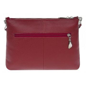 женская кожаная сумка через плечо (красная)