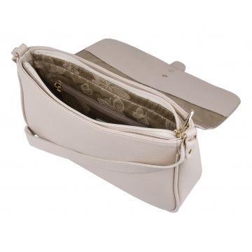 сумка женская через плечо кожаная (слоновая кость)