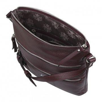 сумка женская через плечо кожаная (вишневая)