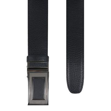 мужской брючный кожаный ремень пряжка автомат (черный)