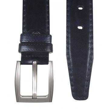 мужской кожаный ремень с декоративной строчкой (темно-синий)