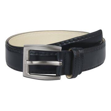 Мужской кожаный ремень с декоративной строчкой чёрный