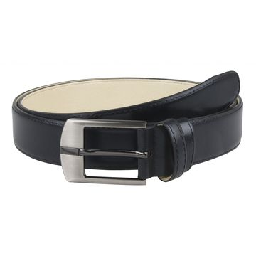 мужской ремень для брюк из натуральной кожи (черный)