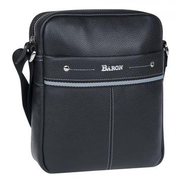мужская кожаная сумка через плечо (черная)