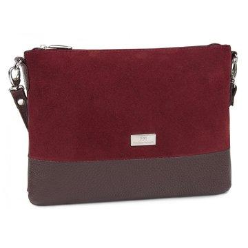 сумка женская из натуральной кожи и замши (вишнёвая)