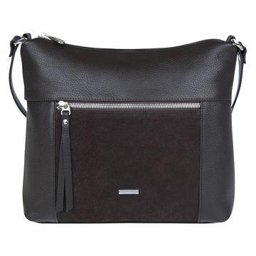 сумка женская из натуральной кожи и замши (коричневая)
