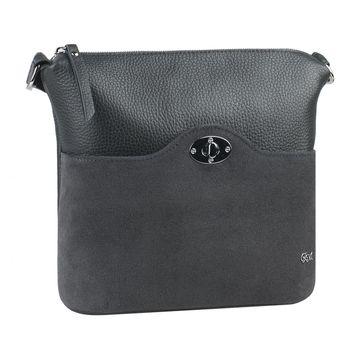 сумка женская из натуральной кожи (серая)