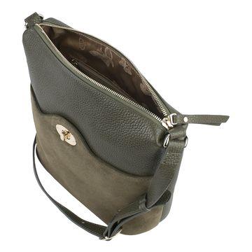 сумка женская из натуральной кожи (хаки)