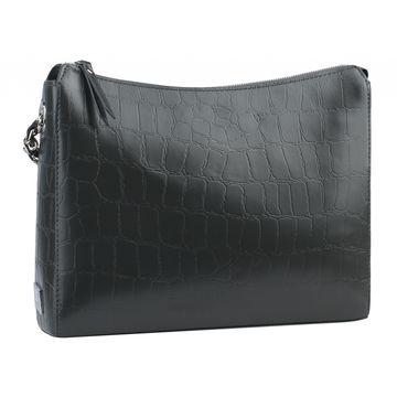 сумка женская кожаная через плечо (тёмно-серая)