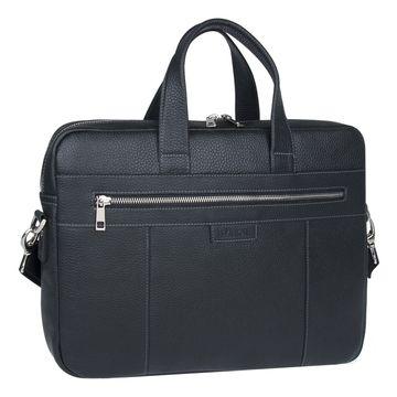 сумка-портфель для документов из натуральной кожи (черная)