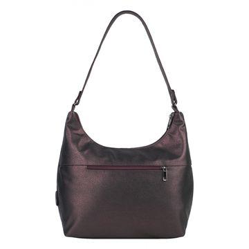 Женская сумка из экокожи бордовая на среднем ремне