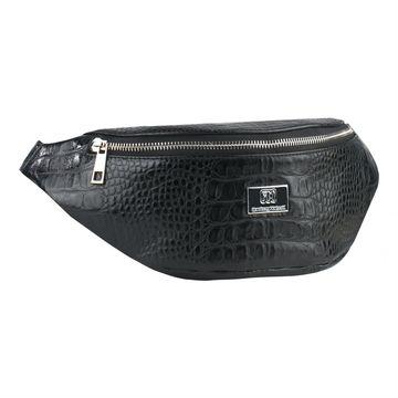 сумка женская поясная из натуральной кожи (чёрная)