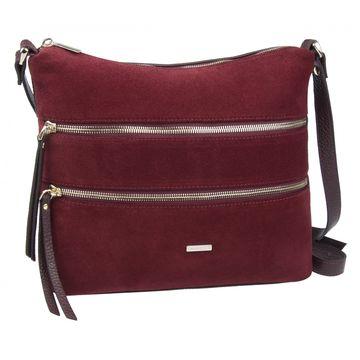 сумка женская из натуральной замши (вишнёвая)