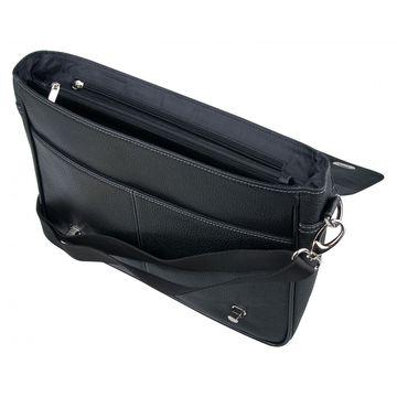 Мужской кожаный портфель чёрный с клапаном