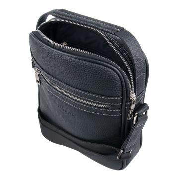 мужская кожаная сумка через плечо с ручкой