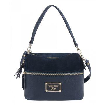 сумка женская из натуральной замши и кожи (синяя)
