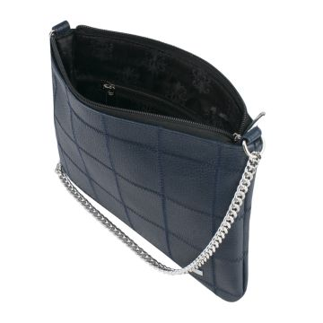 сумка женская кожаная на цепочке (синяя)