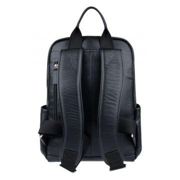 большой мужской кожаный рюкзак (черный)