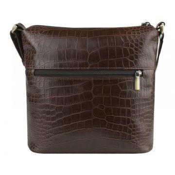 Женская сумка из экокожи коричневая под рептилию