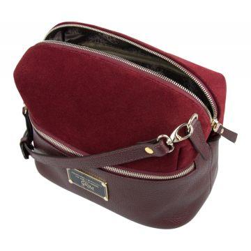 сумка женская из натуральной замши и кожи (бордовая)