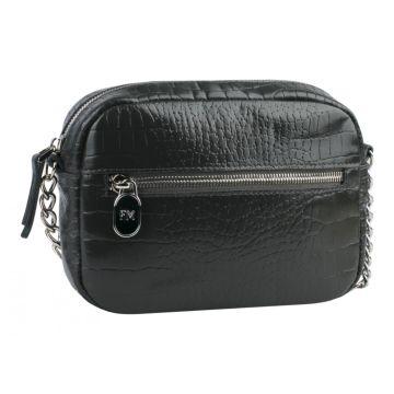 сумка женская из натуральной кожи (тёмно-серая)