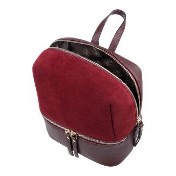 рюкзак женский из натуральной кожи и замши (бордовый)