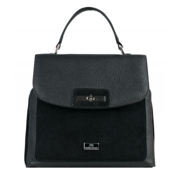 сумка-рюкзак женский из натуральной кожи и замши (чёрный)